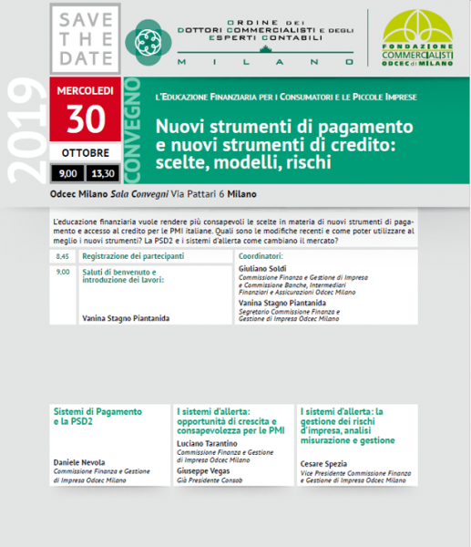 SAVE THE DATE 30 OTTOBRE 2019 ODCEC MILANO